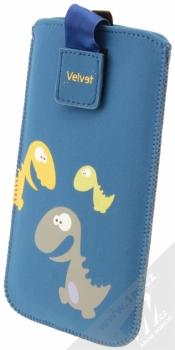 Fixed Velvet 4XL pouzdro pro mobilní telefon, mobil, smartphone (FIXVEL-053-4XL) modrá dinosaurus (blue)