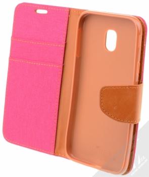 Forcell Canvas Book flipové pouzdro pro Samsung Galaxy J3 (2017) růžová hnědá (pink camel) otevřené