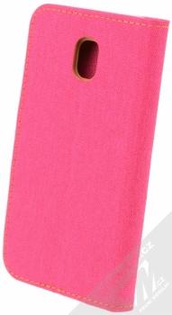 Forcell Canvas Book flipové pouzdro pro Samsung Galaxy J3 (2017) růžová hnědá (pink camel) zezadu