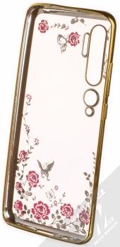 Forcell Diamond Flower TPU ochranný kryt pro Xiaomi Mi Note 10, Mi Note 10 Pro zlatá (gold) zepředu
