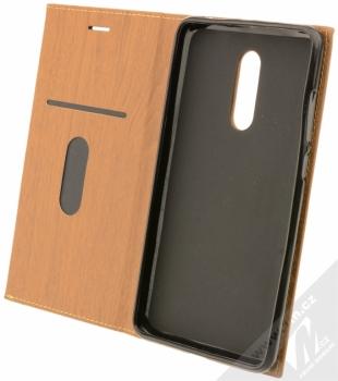 Forcell Wood flipové pouzdro s motivem dřeva pro Xiaomi Redmi Note 4 (Global Version) hnědý dub (oak brown) otevřené