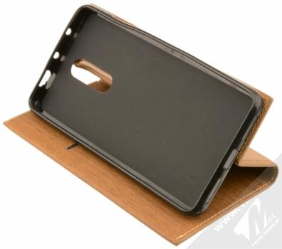 Forcell Wood flipové pouzdro s motivem dřeva pro Xiaomi Redmi Note 4 (Global Version) hnědý dub (oak brown) stojánek