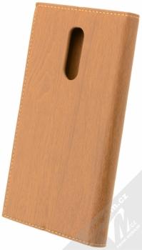 Forcell Wood flipové pouzdro s motivem dřeva pro Xiaomi Redmi Note 4 (Global Version) hnědý dub (oak brown) zezadu