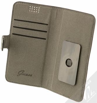 Guess Jet Set Universal Booktype M univerzální flipové pouzdro pro mobilní telefon, mobil, smartphone 4 až 4,5 (GUBKMJSBKS) černá (black) otevřené