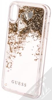 Guess Liquid Glitter Question of Heart ochranný kryt s přesýpacím efektem třpytek pro Apple iPhone XS Max (GUHCI65GLHFLGO) zlatá (gold) animace 1