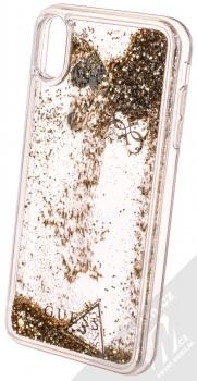 Guess Liquid Glitter Question of Heart ochranný kryt s přesýpacím efektem třpytek pro Apple iPhone XS Max (GUHCI65GLHFLGO) zlatá (gold) animace 3