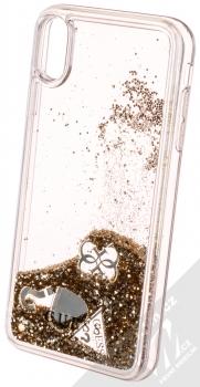 Guess Liquid Glitter Question of Heart ochranný kryt s přesýpacím efektem třpytek pro Apple iPhone XS Max (GUHCI65GLHFLGO) zlatá (gold) animace 5
