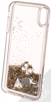 Guess Liquid Glitter Question of Heart ochranný kryt s přesýpacím efektem třpytek pro Apple iPhone XS Max (GUHCI65GLHFLGO) zlatá (gold) zepředu