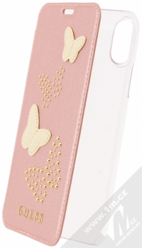 Guess Studs and Sparkle Booktype Case flipové pouzdro pro Apple iPhone X, iPhone XS (GUFLBKPXPBURG) růžově zlatá zlatá (rose gold gold)