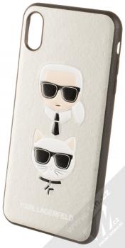 Karl Lagerfeld Karl and Choupette ochranný kryt s motivem pro Apple iPhone XS Max (KLHCI65KICKCSSI) stříbrná (silver)