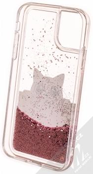 Karl Lagerfeld Peek a Boo Liquid Glitter Case ochranný kryt s přesýpacím efektem třpytek pro Apple iPhone 11 (KLHCN61PABGNU) zlatá růžově zlatá (gold rose gold) zepředu