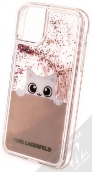 Karl Lagerfeld Peek a Boo Liquid Glitter Case ochranný kryt s přesýpacím efektem třpytek pro Apple iPhone 11 (KLHCN61PABGNU) zlatá růžově zlatá (gold rose gold) zezadu
