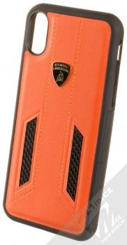 Lamborghini Huracan D6 Leather ochranný kryt z pravé kůže pro Apple iPhone X, iPhone XS (LB-TPUPCIPX-HU/D6-OE) oranžová černá (orange black)