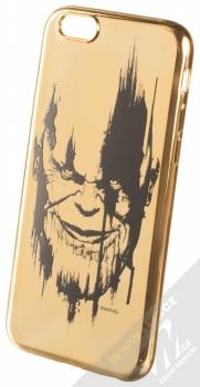 Marvel Thanos 004 TPU pokovený ochranný silikonový kryt s motivem pro Apple iPhone 6, iPhone 6S zlatá (gold)