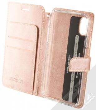 Molan Cano Issue Diary flipové pouzdro pro Apple iPhone XR růžově zlatá (rose gold) otevřené