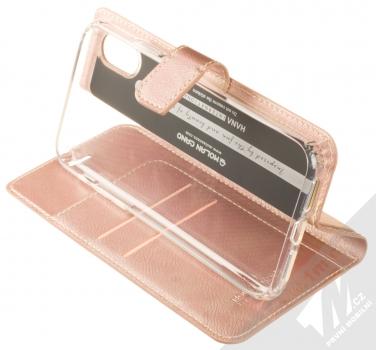 Molan Cano Issue Diary flipové pouzdro pro Apple iPhone XR růžově zlatá (rose gold) stojánek