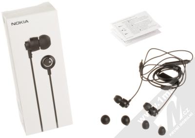 Nokia WH-201 Stereo Earphones originální stereo headset s tlačítkem a konektorem Jack 3,5mm černá (black) balení