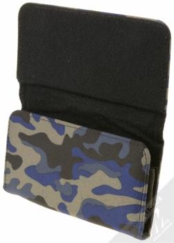 Sligo Leather Belt Army horizontální pouzdro na opasek pro mobilní telefon, mobil, smartphone do 5,1 modrá černá šedá (blue black grey) otevřené