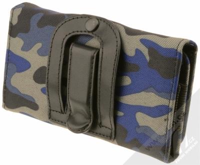 Sligo Leather Belt Army horizontální pouzdro na opasek pro mobilní telefon, mobil, smartphone do 5,1 modrá černá šedá (blue black grey) zezadu