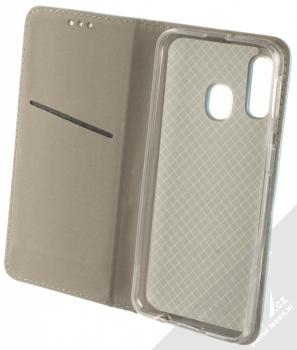 Sligo Smart Magnet flipové pouzdro pro Samsung Galaxy A40 tyrkysová (turquoise) otevřené