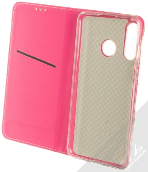 Sligo Smart Trendy Ibišek a kapradí flipové pouzdro pro Huawei P30 Lite bílá růžová (white pink) otevřené