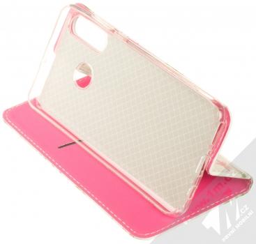 Sligo Smart Trendy Ibišek a kapradí flipové pouzdro pro Huawei P30 Lite bílá růžová (white pink) stojánek