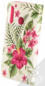 Sligo Smart Trendy Ibišek a kapradí flipové pouzdro pro Huawei P30 Lite bílá růžová (white pink) zezadu