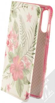 Sligo Smart Trendy Ibišek a kapradí flipové pouzdro pro Huawei P30 Lite bílá růžová (white pink)