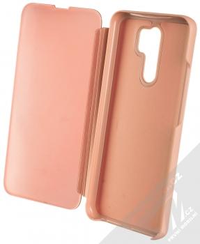 1Mcz Clear View flipové pouzdro pro Xiaomi Redmi 9 růžová (pink) otevřené