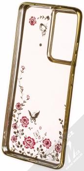 1Mcz Diamond Flower TPU ochranný kryt pro Samsung Galaxy S21 Ultra zlatá (gold) zepředu
