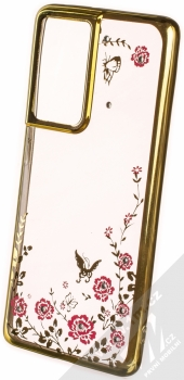 1Mcz Diamond Flower TPU ochranný kryt pro Samsung Galaxy S21 Ultra zlatá (gold)