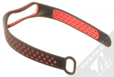 1Mcz Double Color Strap silikonový pásek na zápěstí pro Xiaomi Mi Band 3, Mi Band 4 černá červená (black red) rozepnuté zezadu