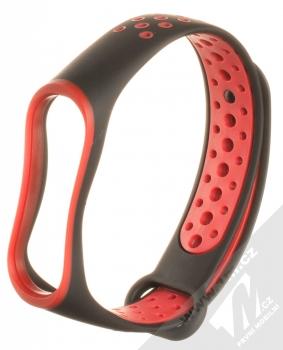 1Mcz Double Color Strap silikonový pásek na zápěstí pro Xiaomi Mi Band 3, Mi Band 4 černá červená (black red)