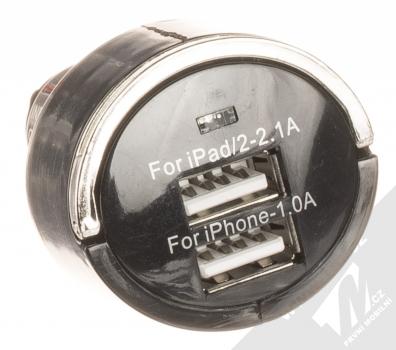 1Mcz Dual Car Charger nabíječka do auta s 2xUSB výstupem a USB kabel s USB Type-C konektorem prodloužené délky černá bílá (black white) nabíječka USB výstupy