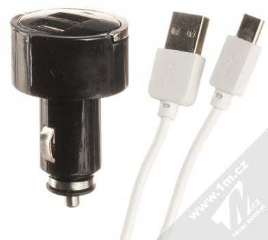1Mcz Dual Car Charger nabíječka do auta s 2xUSB výstupem a USB kabel s USB Type-C konektorem prodloužené délky černá bílá (black white)