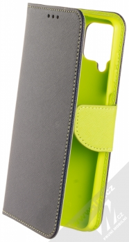 1Mcz Fancy Book flipové pouzdro pro Samsung Galaxy A12, Galaxy M12 modrá limetkově zelená (blue lime)
