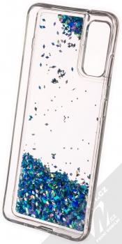 1Mcz Liquid Diamond Sparkle ochranný kryt s přesýpacím efektem třpytek pro Samsung Galaxy S20 tyrkysová (turquoise) zepředu