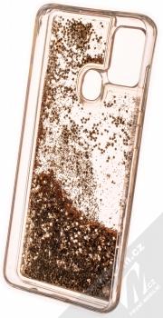 1Mcz Liquid Hexagon Sparkle ochranný kryt s přesýpacím efektem třpytek pro Samsung Galaxy A21s zlatá (gold) zepředu