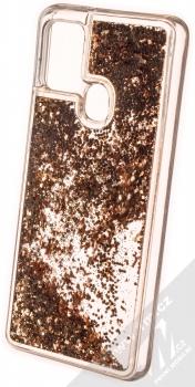 1Mcz Liquid Hexagon Sparkle ochranný kryt s přesýpacím efektem třpytek pro Samsung Galaxy A21s zlatá (gold) zezadu