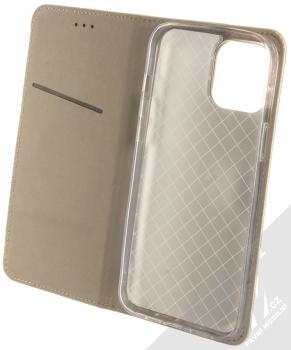 1Mcz Magnet Book flipové pouzdro pro Apple iPhone 12 Pro Max zlatá (gold) otevřené