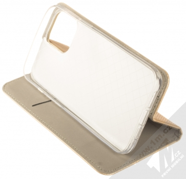 1Mcz Magnet Book flipové pouzdro pro Apple iPhone 12 Pro Max zlatá (gold) stojánek