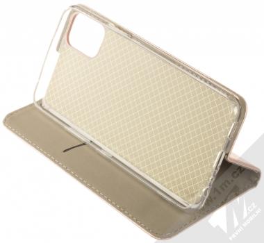 1Mcz Magnetic Book flipové pouzdro pro LG K42 růžově zlatá (rose gold) stojánek