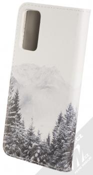 1Mcz Trendy Book Hora a zasněžený les 1 flipové pouzdro pro Samsung Galaxy S20 FE bílá (white) zezadu