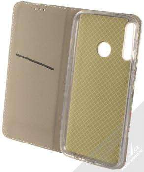 1Mcz Trendy Book Kapradí 2 flipové pouzdro pro Huawei P40 Lite E tmavě zelená (dark green) otevřené