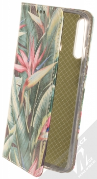 1Mcz Trendy Book Kapradí 2 flipové pouzdro pro Huawei P40 Lite E tmavě zelená (dark green)