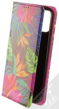 1Mcz Trendy Book Záhon ibišků v noční zahradě 1 flipové pouzdro pro Apple iPhone 12 Pro Max černá (black)