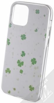 1Mcz Trendy Trojlístky a Čtyřlístky TPU ochranný kryt pro Apple iPhone 12, iPhone 12 Pro bílá (white)