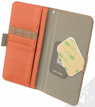 4smarts Ultimag Wallet Norwalk Croco do 5,8 univerzální flipové pouzdro hnědá (brown) otevřené s kovovými plíšky