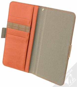 4smarts Ultimag Wallet Norwalk Croco do 5,8 univerzální flipové pouzdro hnědá (brown) otevřené