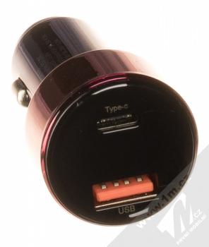 Baseus Magic Car Charger CCMLC20C-03 nabíječka do auta s 1x USB + 1x USB Type-C výstupy 45W a podporou PD a QC růžová modrá (pink blue) výstupy